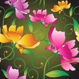 Seamless utsmyckade blommor för textiltyger Arkivfoton
