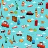 Seamless Vacation Travel Pattern Wallpaper Background vector illustration