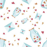 Seamless Valentine background. Tile love pattern. Vector illustrated sweet wrapping paper texture Stock Images