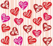 Seamless valentine day heart background in vector. Red heart background perfect to use in Valentine's Day or wedding designs Royalty Free Stock Photo