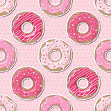 Seamless Valentine donuts Royalty Free Stock Photos