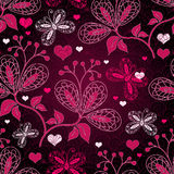Seamless valentine floral pattern Stock Photos