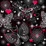 Seamless valentine lacy pattern Royalty Free Stock Photos