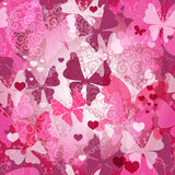 Seamless valentine pattern with butterflies Royalty Free Stock Photo