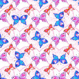 Seamless valentine pattern. With colorful translucent butterflies and lacy hearts (vector eps 10 Stock Photos
