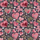 Seamless valentine pattern with colorful vintage pink and brown butterflies, flowers, hearts on black background. Vector. Stock Photography