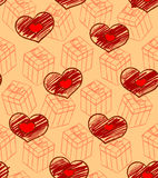 Seamless Valentine pattern with gifts and hearts Royalty Free Stock Photography
