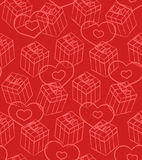 Seamless Valentine pattern with gifts and hearts Stock Photo