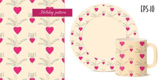Seamless valentine pattern with hearts and dishes mockup stock illustration