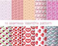 10 seamless valentine pattern. Set of 10 seamless valentine's day patterns can be used for wallpaper, website background, textile printing stock illustration