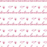 Seamless valentine pattern with word love and hearts Stock Photo