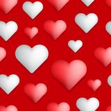 Seamless Valentine's day pattern abstract background with red an. D white hearts royalty free illustration