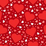 Seamless Valentine's day pattern abstract background with red an. D white hearts stock illustration