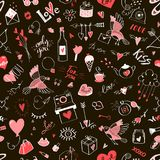 Seamless Valentine`s day pattern with doodle elements Royalty Free Stock Image