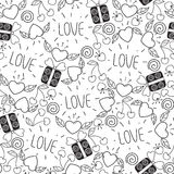 Seamless Valentine`s day pattern in doodle style.  background with hearts,leaves,cherry,gifts,love. design for coloring book Stock Image