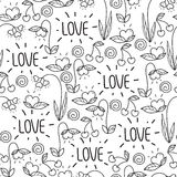 Seamless Valentine`s day pattern in doodle style isolated on white background. elements:hearts,leaves,cherry,flowers and let Stock Photos