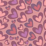 Seamless Valentines Day pattern with hearts Stock Photos