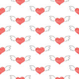 Seamless Valentine's day watercolor heart with wings Stock Photo
