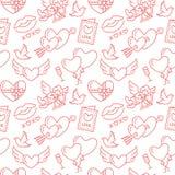 seamless valentiner för dagmodell Förälskelse romanslägenhetlinje symboler - hjärtor, choklad, kyss, kupidon, duvor, valentinkort stock illustrationer