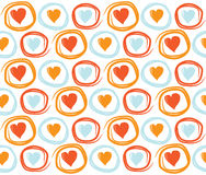 Seamless Valentines Day background with circles and hearts. Tiled vector holiday texture. Love wrapping paper design. Royalty Free Stock Photo