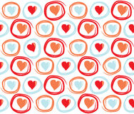 Seamless Valentines Day background with circles and hearts. Tiled vector holiday texture. Love wrapping paper design. Stock Images