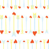 Seamless Valentines Day background with Cupid`s arrows.  Tiled vector holiday texture. Love wrapping paper design. Stock Photos