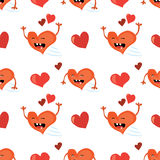 Seamless Valentines Day background with funny red heart character. Tiled vector holiday texture. Love wrapping paper design. Royalty Free Stock Image