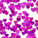 Seamless valentines day background pattern - vector illustration from purple hearts with shadow effect Royalty Free Stock Photo