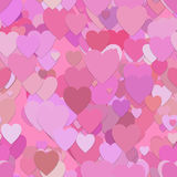 Seamless valentines day pattern background - vector graphic from hearts in pink tones Stock Image