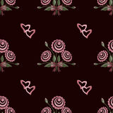 Seamless valentines day pattern with hearts and flowers Stock Photography