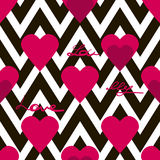 Seamless valentines day pattern with hearts and text on zig zag. Background texture Stock Image