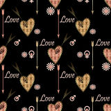 Seamless Valentines day pattern with patchwork textured hearts p Stock Photography