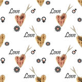 Seamless Valentines day pattern with patchwork textured hearts p Royalty Free Stock Photos
