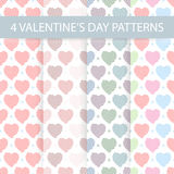 Seamless Valentines day patterns. 4  inems Stock Images