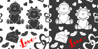 Seamless Valentines Day patterns Stock Photos