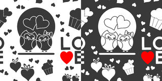 Seamless Valentines Day patterns Stock Photography