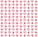 Seamless Valentines day polka dot red pattern with hearts. Vector Royalty Free Stock Image