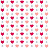 Seamless Valentines day polka dot red pattern with hearts. Vector Stock Photo