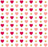 Seamless Valentines day polka dot red pattern with hearts. Vector Stock Photography