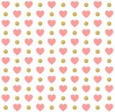 Seamless Valentines day polka dot red pattern with hearts. Vector Stock Image