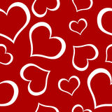Seamless valentines pattern. Seamless red valentines square pattern with white hearts Stock Images