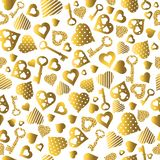 Seamless valentines pattern with golden glittering hearts and keys. Gold Seamless pattern. Repeatable valentines day design. Can. Be used for fabric, scrap vector illustration