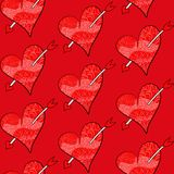 Seamless Valentines vector pattern of red hearts. Valentines vector pattern of red hearts and hand draw arrows. Seamless background Stock Photography