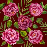 Flowers pattern - pink peonies, roses oil painting. Seamless varicolored peonies and roses flowers floral pattern Royalty Free Stock Image
