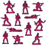 Seamless  pink toy soldiers. Seamless  various pink toy soldiers Royalty Free Stock Photo