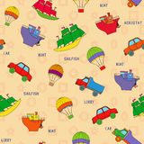 Seamless various transport pattern Royalty Free Stock Photography