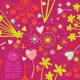 seamless vecto för färgrik blommahjärtamodell royaltyfri illustrationer