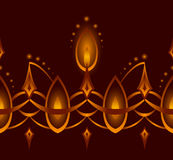 Seamless Vector Abstract Candle Ornamental Line. Royalty Free Stock Photography