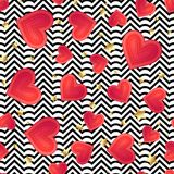 Seamless vector with abstract colorful hearts texture on black a. Nd white zigzag stripes. Golden vintage background Stock Image