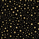 Seamless vector with abstract gold glitter star texture on black backdrop. Golden vintage background.  Stock Image